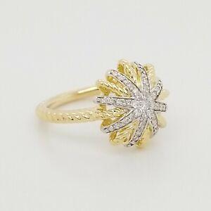 David Yurman 14mm X 14mm 18k Yellow Gold Starburst Ring with Diamonds Size 5