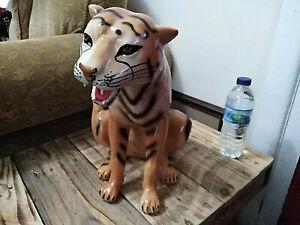 Italian mid-century ceramic tiger statue vintage