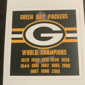 """Green Bay Packers NFL Decal Sticker WORLD CHAMPIONS 2.9"""" - Super Bowl"""