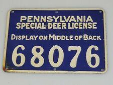 Vintage 1928 Pennsylvania PA Special Deer License #68076 Cobalt Blue Tin
