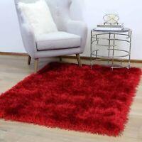 PRESTON RED PLAIN SOFT SHAGGY FLOOR RUG - 5 Sizes **NEW**