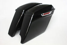 "Vivid black 2014-2017 Harley 4.5"" 1/2 stretch bags single exhaust hardware latch"