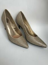 LADIES GOLD SPARKLED HIGH HEELS, SIZE 8 1/2