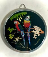 "Vintage Butterfly Art Parrot Key West Souvenir 4 3/4"" Wall Plaque"