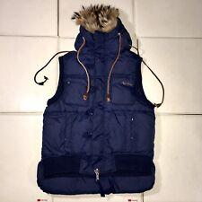 Authentic DSQUARED2 Blue Puffer Down Jacket 48 Rabbit Fur Vest