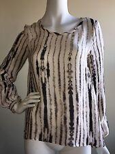 HH Haute Hippie Womens Black Blouse Sz S Long Sleeve Printed Silk Top Shirt