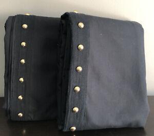 """S/2 Pottery Barn TEEN Emily & Meritt Studded 52x84"""" Black BLACKOUT Panel Drapes"""
