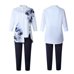 Printed Irregular Split Commuter Plus Size Shirt Trousers Two-piece Suit