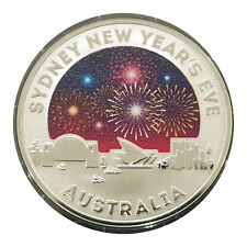 Australia 2015 Sydney New Year's Eve $1 Coloured Silver Frosted UNC Coin RAM