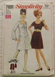 Vintage Dress Sewing Pattern*Simplicity 7891*UNCUT/FF*Size 14*retro 60s*A-line