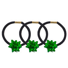 Lux Accessories Black Hair Elastic Ties Green Holiday Gift Ribbon Set of 3