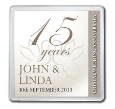 PERSONALISED 15th CRYSTAL WEDDING ANNIVERSARY DRINKS COASTER