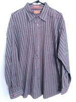 Mens XXL 2XL Faconnable Burgundy Blue Striped Long Sleeve Button Up Dress Shirt