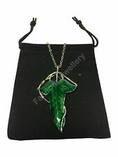 LORD OF THE RINGS ELVEN LEAF BROOCH NECKLACE PENDANT CHARM CHAIN PIN LOTR HOBBIT