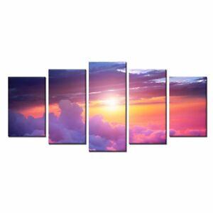 5pcs Canvas Print Purple Cloud Canvas Poster Home Wall Art Decor-Framed