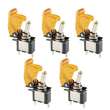 5Pc 12V 20A Yellow Cover LED Light Rocker Toggle Switch SPST ON/OFF Car