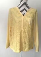Nine West 429 Women's Tee Lace Knit Top Roll Up Sleeve Lace Yellow Size XL