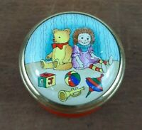Halcyon Days Enamel Toys Teddy Bear Rag Doll Mini Pill Trinket Box Screw on Lid