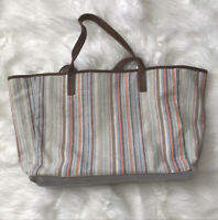 J.Jill Women's Linen Blend Tote Handbag Striped Leather Trim And Straps