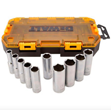 DEWALT 1/2 inch Drive Deep Socket Set 10 Piece Sockets Hand Tool SAE 6 Point New