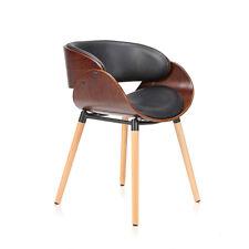 Chaise Design Rétro Vintage Fauteuil Rembourré Bois avec Pieds en Pois Massif