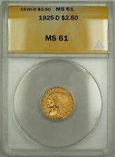 1925-D $2.50 Indian Quarter Eagle Gold Coin ANACS MS-61 (B)