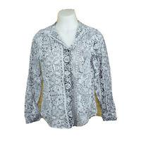 CHICOS Woman's Long Sleeve Button Down Western Paisley Print Shirt Top Sz 2 L