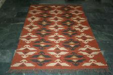 "Dhurrie Carpet Rug Wool Jute Tribal Afghan Handwoven Kilim Yoga Mat 60""x96"" Inch"
