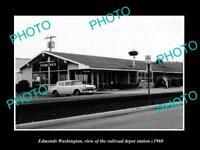 OLD POSTCARD SIZE PHOTO OF EDMONDS WASHINGTON THE RAILROAD DEPOT STATION c1960