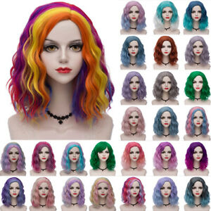 35CM Lolita Halloween Ombre Curly Party Medium Rainbow Multi-Color Cosplay Wig
