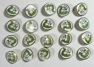 20 Vtg 1970s JHB International Metal Enamel Cloisonné BUTTONS Lily of the Valley