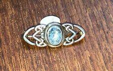 silver & blue stone crystal brooch