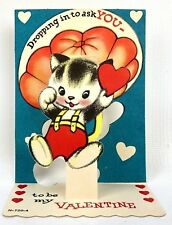 Vtg 40s 50s Valentines Card Kitty Cat Parachute Ephemera Greeting Johnny Burbon