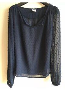 VERO MODA Tupfen Tunika Bluse Blau Gr S 36