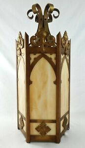 "Vintage 22""H Hexagonal Brass Cathedral HANGING Lantern w/ Slag Glass Panels 1950"