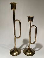 "SET of 2 Vintage Brass Candlesticks Bugle Horn Candle Holders 7"" &  9"""