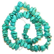 NG2495 Blue-Green Turquoise Medium 7mm - 12mm Magnesite Gemstone Chip Beads 15""