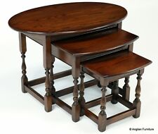 Old Charm Oak Nest of Tables Tudor Brown FREE Nationwide Delivery