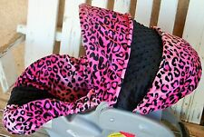 pink leopard/cheetah minky and black minky infant car seat Cover & hood cover