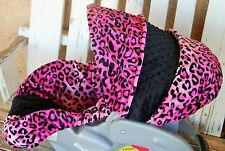 baby infant car seat Cover & hood cover pink leopard/cheetah minky and black