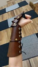 "12"" Leather Vambrace with layered Hand/Knuckle Protector - 1/4"" Leather"