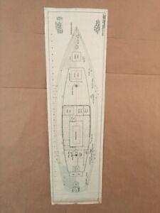 "Naval Architect ""C.D. Mabry (California), 1930's Motor Sailer Deck Plan Vellum"