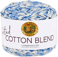 Lion Brand Twisted Cotton Blend Yarn-Blue/Ecru