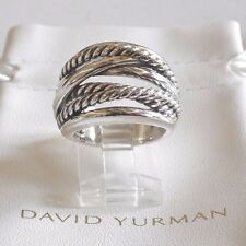 David Yurman New Wide CrossOver Sterling Silver Cable Band Ring Size 7 & Pouch
