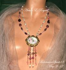Arturo E Reyna Crafted From Antique Czech Glass Beads Cameo real Pearls Necklace