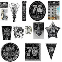 70th Black Glitz Birhtday Party Supplies Decorations Tableware 18 items Free P+P