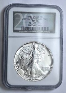 1987 NGC MS 68 $1 AMERICAN SILVER EAGLE  20th ANNIVERSARY  COLLECTION