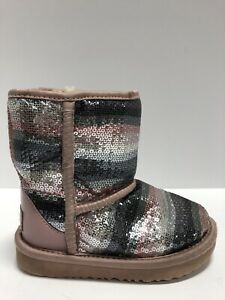 UGG Toddlers' T Classic II Sequin Rainbow Boot, Girls' Size 9M.
