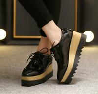 Womens Platform Wedge High Heels Lace Up Creepers Loafers Patent Leather Shoes