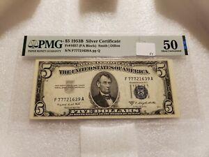 1953B $5 Silver Certificate Fr#1657 (FA Block) PMG 50